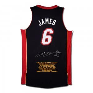 LeBron James Signed Miami Heat 10th Anniversary Stats Jersey