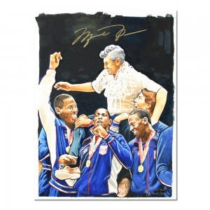 Michael Jordan along with Olympic teammates Wayman Tisdale