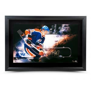 Wayne Gretzky Autographed Acrylic Stick Blade with Edmonton Oilers Flame Picture - Framed
