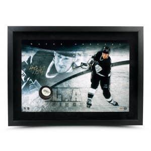 Wayne Gretzky Autographed Los Angeles Kings Slapshot Breaking Through- Framed