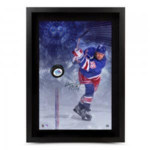 Wayne Gretzky Autographed New York Rangers Slapshot Breaking Through - Framed
