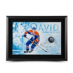Connor McDavid Autographed & Inscribed Breaking Through 24x16