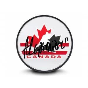 Alexis Lafrenière Autographed Team Canada Acrylic Hockey Puck