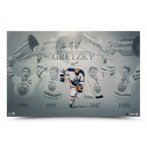 "Wayne Gretzky Autographed ""Raising the Stanley Cup"" 28x18 Image"