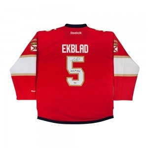 "Aaron Ekblad Autographed & Inscribed ""First Overall Draft Pick 2014"" Florida Panthers Red Premier Jersey"