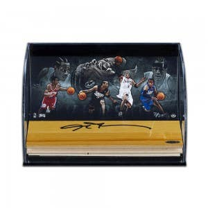 """Allen Iverson Autographed NBA Game-Used Floor With """"Progression to Greatness"""" Curve Display"""