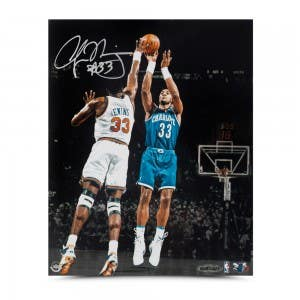 "Alonzo Mourning Autographed ""Foul Line Jumper"" 8 x 10"