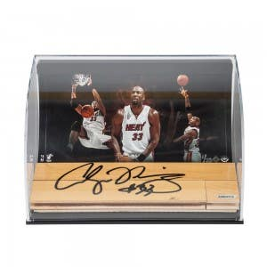 Alonzo Mourning Heat Photo with Autographed NBA Game-Used Floor Curve Display
