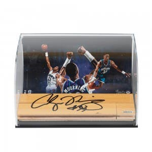 Alonzo Mourning Hornets Photo with Autographed NBA Game-Used Floor Curve Display