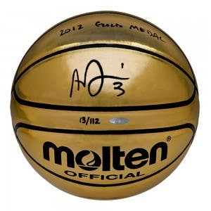 Anthony Davis Autographed & Inscribed Molten Gold Trophy Basketball