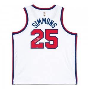 Ben Simmons Autographed Philadelphia 76ers White Swingman Hardwood Classics Nike Jersey