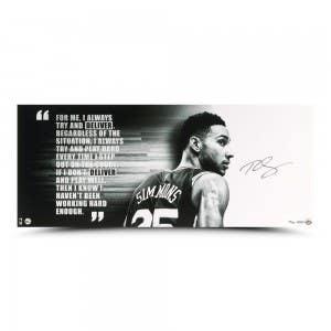 "Ben Simmons Autographed ""Deliver"" Black & White 36 x 15"