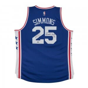 Ben Simmons Autographed & Inscribed 76ers Away Jersey