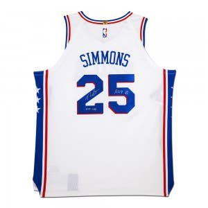 """Ben Simmons Autographed & Inscribed """"ROY '18"""" Philadelphia 76ers Blue Authentic Nike Jersey"""