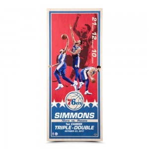 "Ben Simmons ""Triple-Double"" Maple Wood Print 26x11"