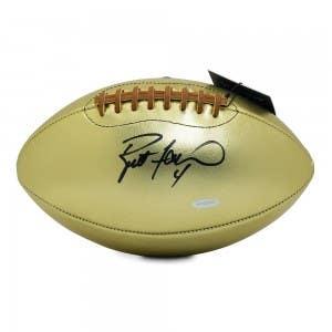Brett Favre Autographed Leather Head Pro Series Golden Goose Football