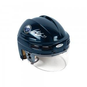 Casey Mittelstadt Autographed Buffalo Sabres Navy Mini Helmet