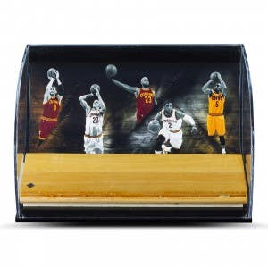 """Cleveland Cavaliers """"Defenders of the Hardwood"""" Game Used Floor Piece Curve Display Case"""