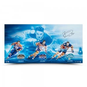 "Connor McDavid Autographed ""3x Fastest Skater"" 36 x 18"