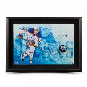 """Connor McDavid Autographed """"Commanding"""" Breaking Through"""