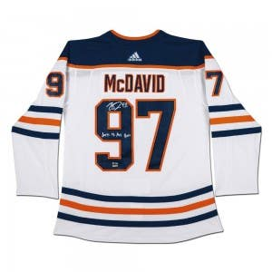 "Connor McDavid Autographed & Inscribed ""2017-18 Art Ross"" Edmonton Oilers White Adidas Authentic Jersey"