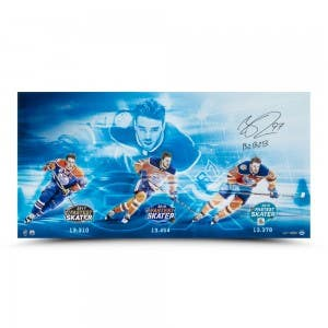 "Connor McDavid Autographed & Inscribed ""3x Fastest Skater"" 36 x 18"