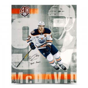 """Connor McDavid Autographed & Inscribed """"Anniversary"""" 20 x 24"""