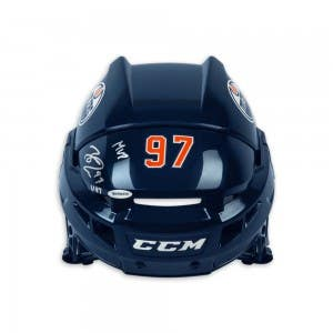 Connor McDavid Autographed & Inscribed CCM Edmonton Oilers Authentic Navy Helmet