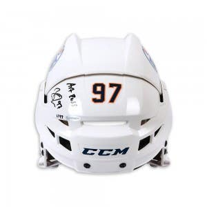 Connor McDavid Autographed & Inscribed CCM Edmonton Oilers Authentic White Helmet