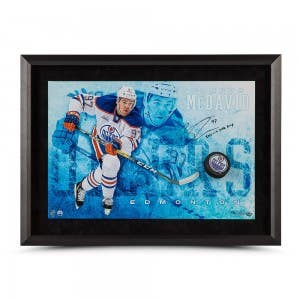 """Connor McDavid Autographed & Inscribed """"Commanding"""" Breaking Through 24"""" x 16"""" - NHL MVP"""