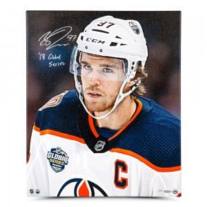 "Connor McDavid Autographed & Inscribed ""Looking On"" 20 x 24 Canvas"