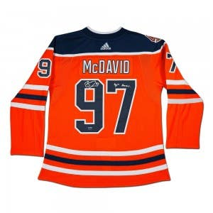 Connor McDavid Autographed & Inscribed Edmonton Oilers Authentic Orange Jersey With 40th Anniversary Shoulder Patch