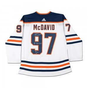 Connor McDavid Autographed & Inscribed Edmonton Oilers White Adidas Authentic Jersey