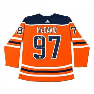 Connor McDavid Autographed & Inscribed Authentic Orange Adidas Edmonton Oilers Jersey