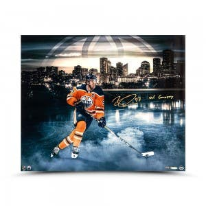"Connor McDavid Autographed & Inscribed ""River City"" 24 x 20"