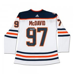 Connor McDavid Autographed Edmonton Oilers Authentic White Jersey With 40th Anniversary Shoulder Patch
