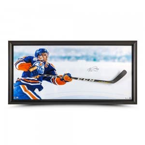 """Connor McDavid Autographed """"Sharpshooter"""" Breaking Through 70"""" x 32"""""""