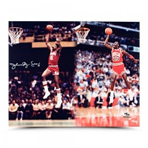 Jordan & Erving Dual Autographed Dunk Photo