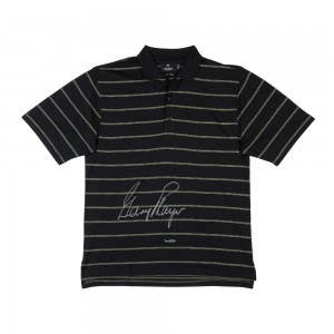 Gary Player Autographed Black Polo With Green Pinstripes