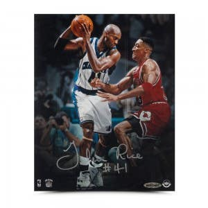 "Glen Rice Autographed ""Offense vs. Defense"" 8 x 10"