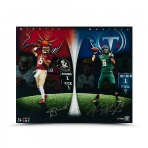 "Jameis Winston and Marcus Mariota Dual Autographed ""Draft Board Leaders"" 24 x 20 Photo"
