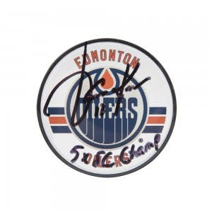 Jari Kurri Autographed & Inscribed Edmonton Oilers Acrylic Puck