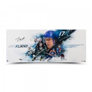 """Jari Kurri Autographed """"Career Collage"""" 36 x 15"""
