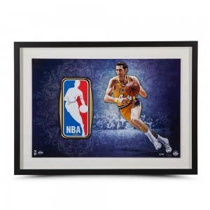 Jerry West Autographed Framed Logo Man Patch
