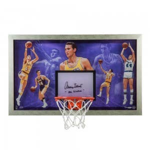Jerry West Autographed & Inscribed Mr. Clutch Backboard
