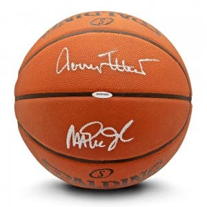 Jerry West & Magic Johnson Autographed Authentic Spalding Basketball