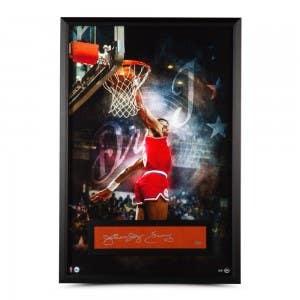 """Julius Erving Autographed """"Dr. J"""" Framed Display 28 x 40"""