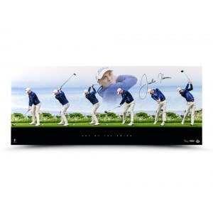 """Justin Thomas Autographed """"Art of the Swing"""" 36x15"""