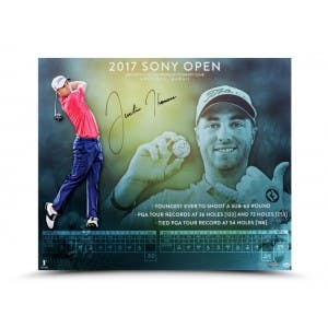 """Justin Thomas Autographed """"Setting Records"""" 20x24"""