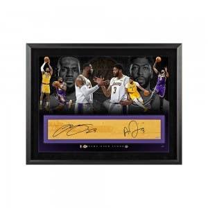 "LeBron James Anthony Davis Autographed NBA Game-Used Floor ""Goals"" Framed 36x24"